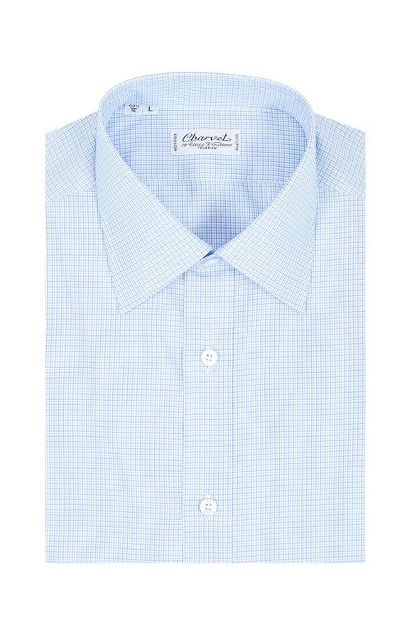 Charvet Blue & White Check Dress Shirt