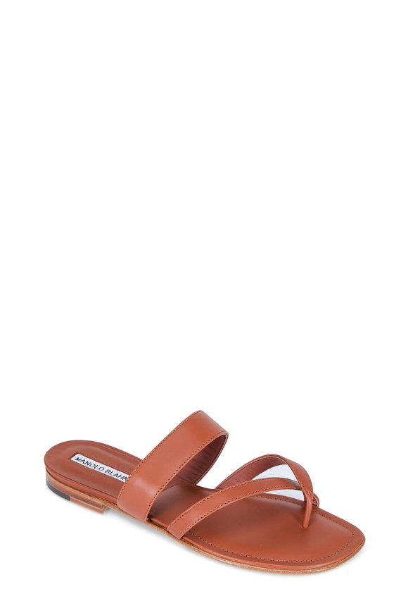 Manolo Blahnik Susa Luggage Leather Flat Thong Sandal