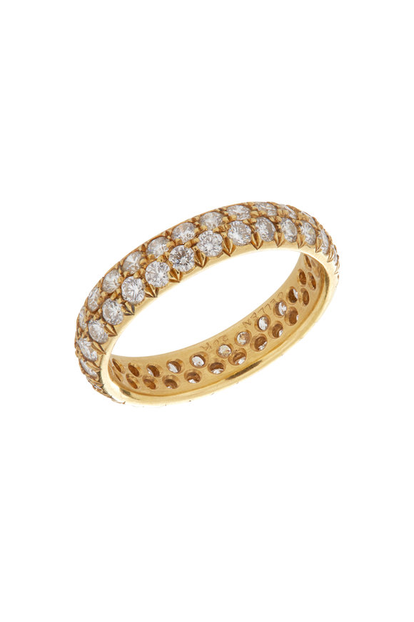 Caroline Ellen Yellow Gold Pavé Diamond Ring
