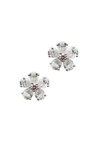 Graff - Platinum White & Pink Diamond Flower Earrings