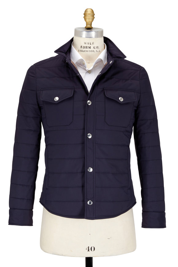 Brunello Cucinelli Navy Nylon Water-Repllent Qulited Nylon Jacket
