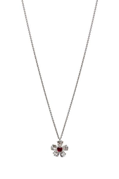 Graff - Platinum Ruby & White Diamond Flower Pendant