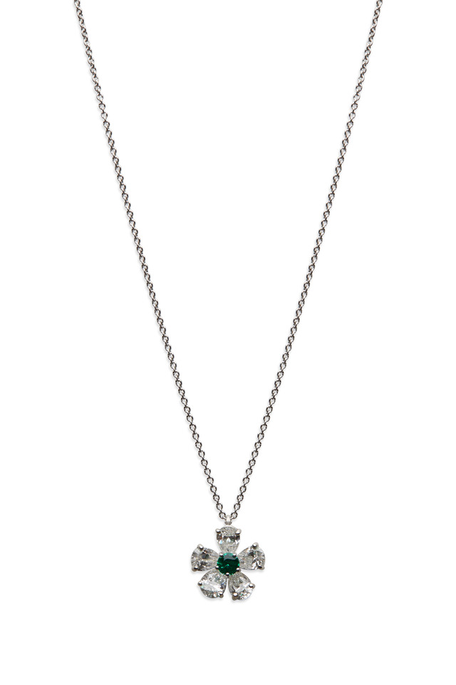 Platinum Emerald & White Diamond Flower Pendant