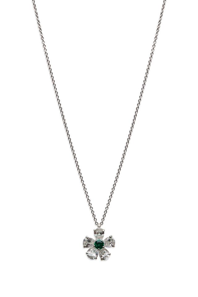 Platinum Emerald & White Diamond Flower Pendant