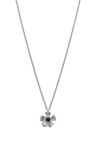 Graff - Platinum Emerald & White Diamond Flower Pendant