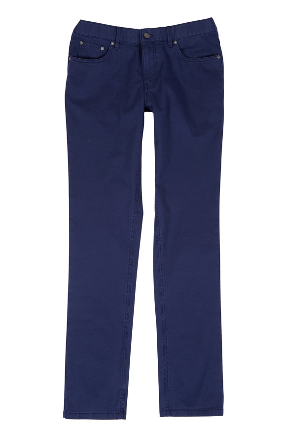 Hiltl Seth Navy Blue Cotton & Linen Five-Pocket Pant