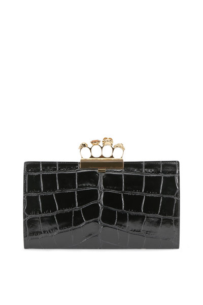 Alexander McQueen - Black Crocodile Embossed Leather Knuckle Clutch