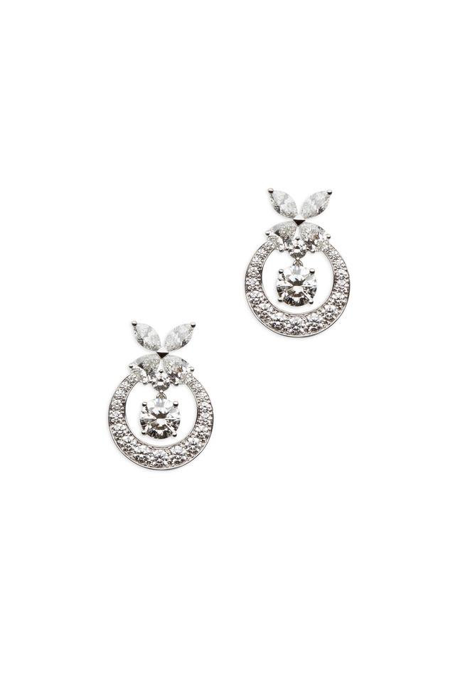 Platinum Round White Diamond Earrings