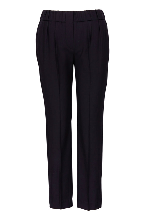 Brunello Cucinelli Black Lightweight Wool Pull On Ankle Pant
