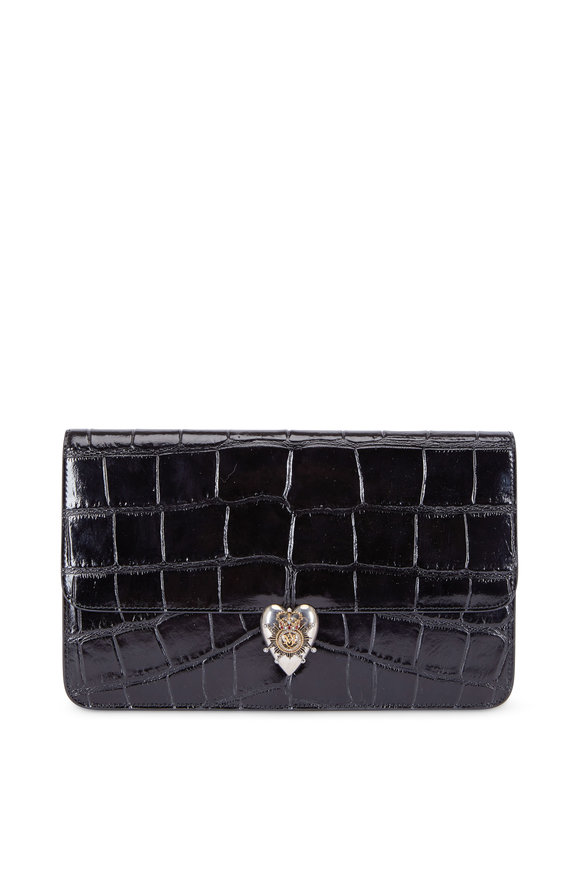 Alexander McQueen Black Leather Stamped Crocodile Clutch