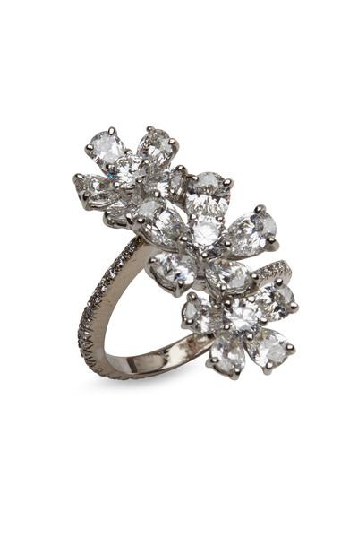 Graff - Platinum Three Flower White Diamond Cluster Ring