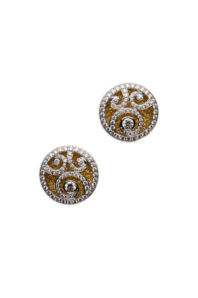 Gold & Silver Mirco-Set White Diamond Earrings