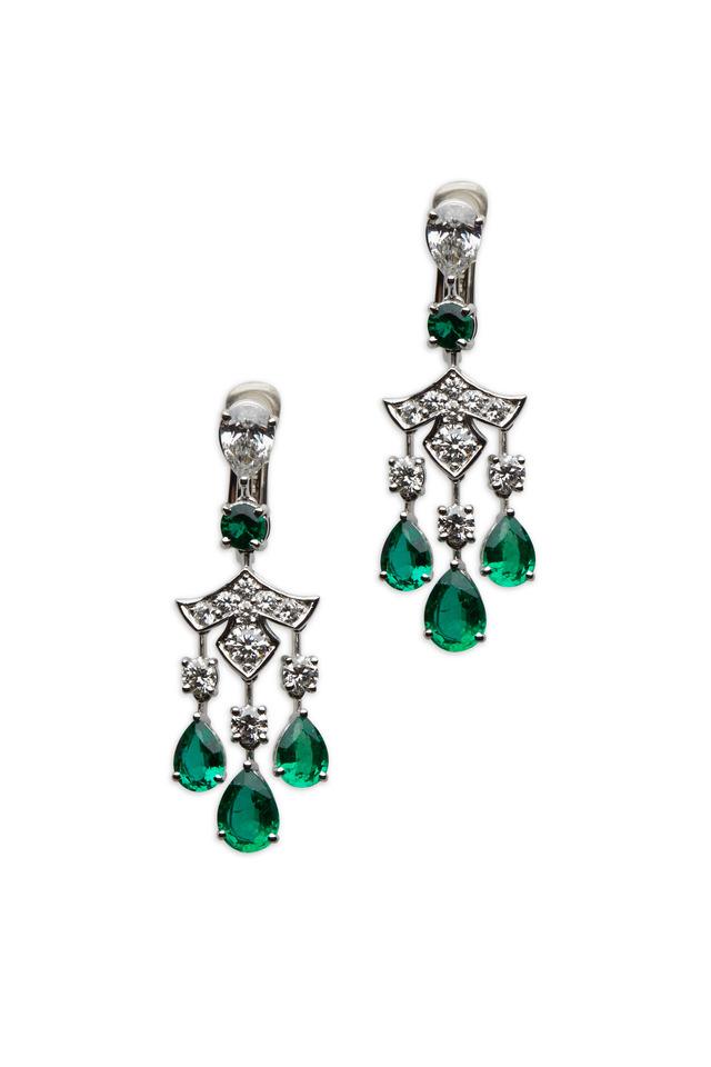 White Gold Emerald & White Diamond Earrings
