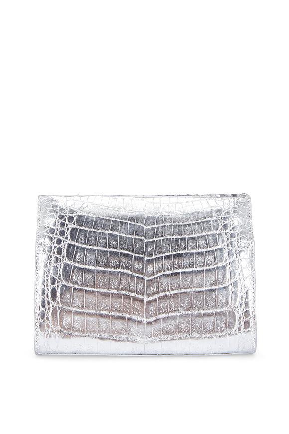 Nancy Gonzalez Silver Crocodile & Blue Python Strap Clutch