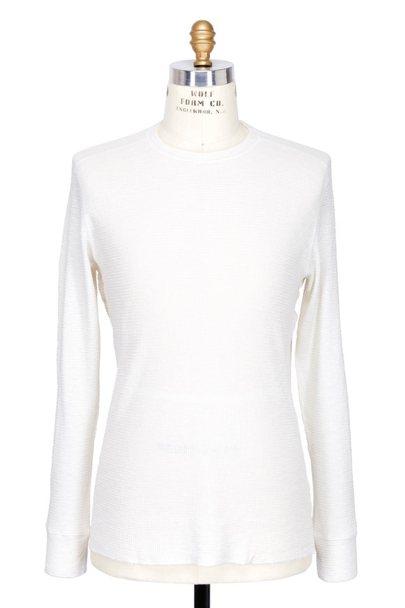 RRL White Thermal Cotton Long Sleeve Top