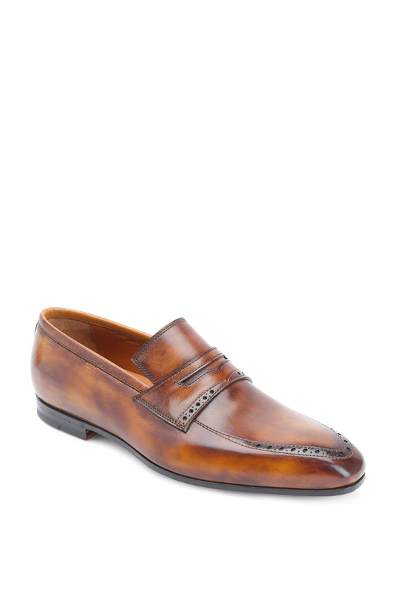 Bontoni Tancredi Bruchiato Leather Penny Loafer