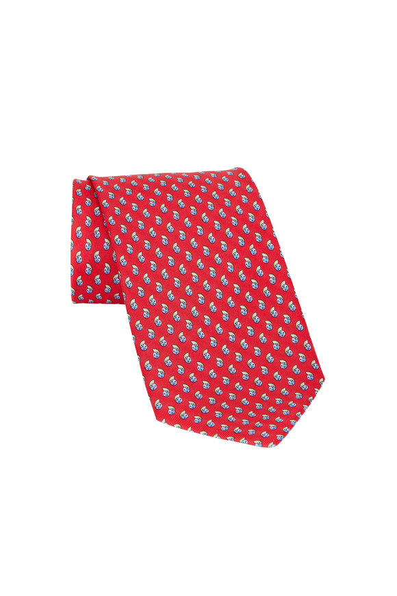 Salvatore Ferragamo Red Ladybug Print Silk Necktie