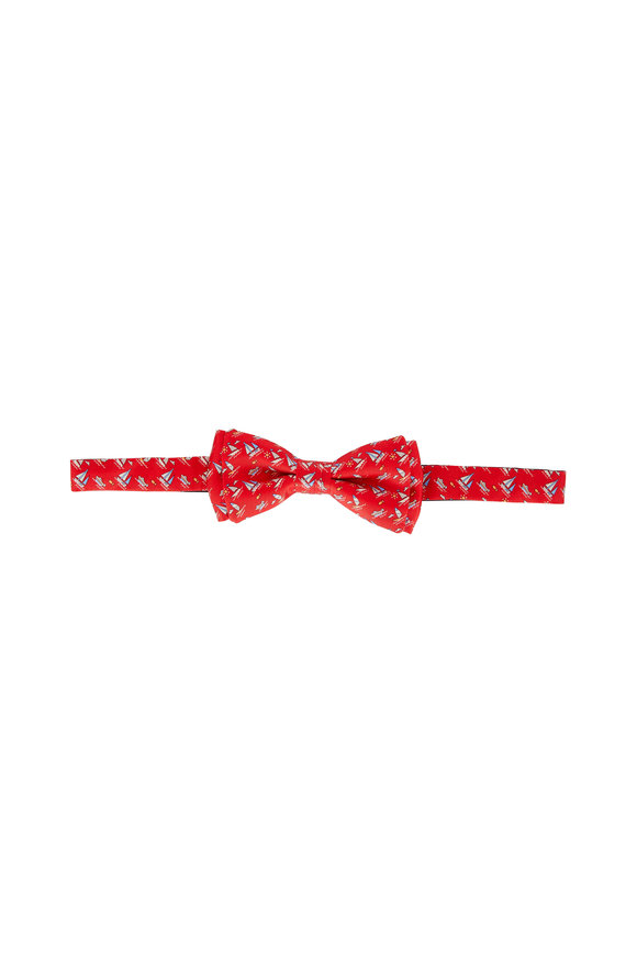 Salvatore Ferragamo Red Sailboat Print Silk Pre-Tied Bow Tie