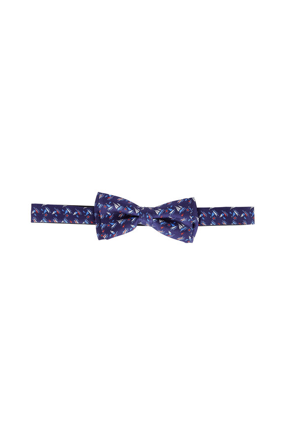 Salvatore Ferragamo Navy Blue Sailboat Print Silk Pre-Tied Bow Tie