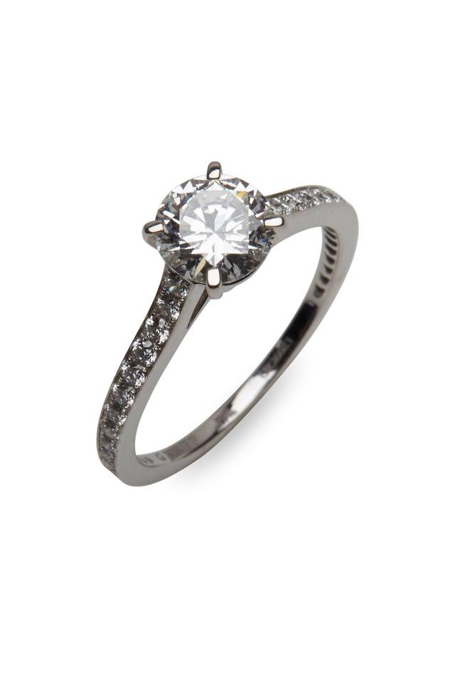 Platinum Round-Cut Diamond Ring