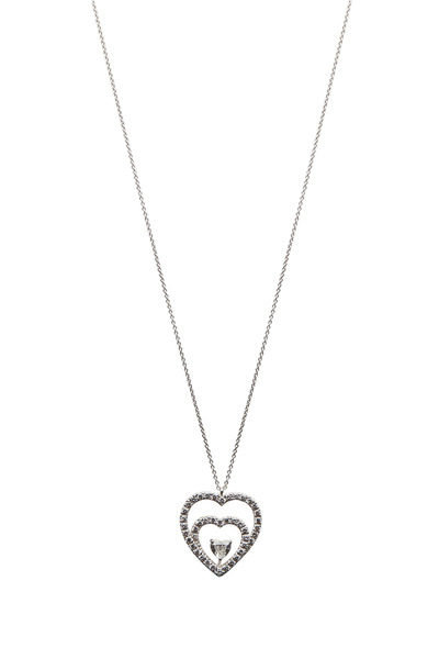 Graff - White Gold White Diamond Double Heart Pendant