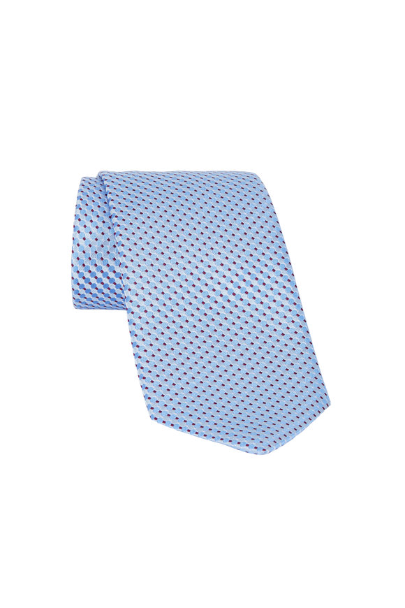 Eton Light Blue & Gray Circle Print Silk Necktie