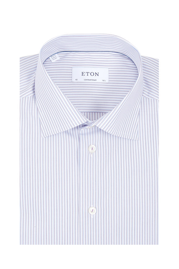 Eton Purple Pinstriped Contemporary Fit Dress Shirt