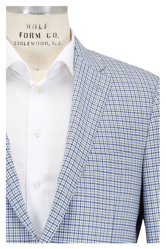 Hickey Freeman Light Blue & Tan Check Wool Sportcoat