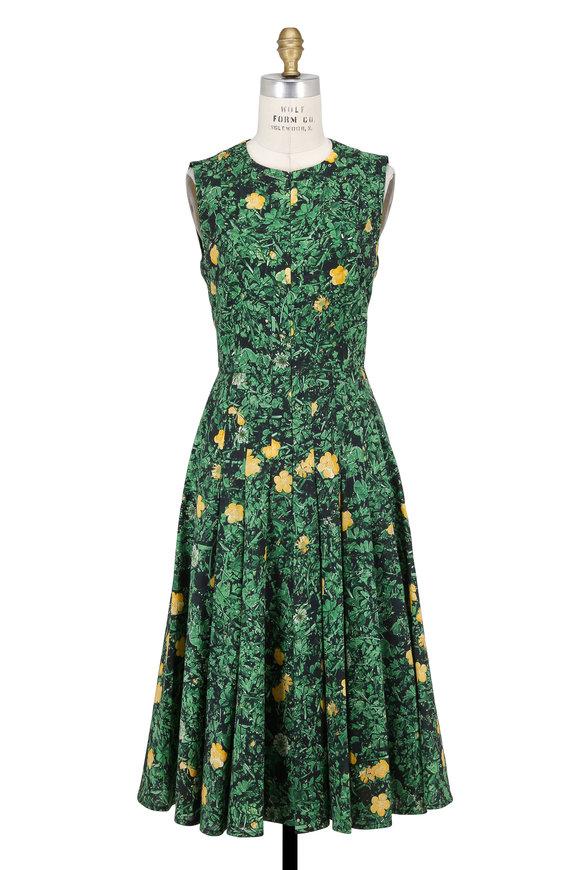 Akris Green & Yellow Buttercup Sleeveless Dress