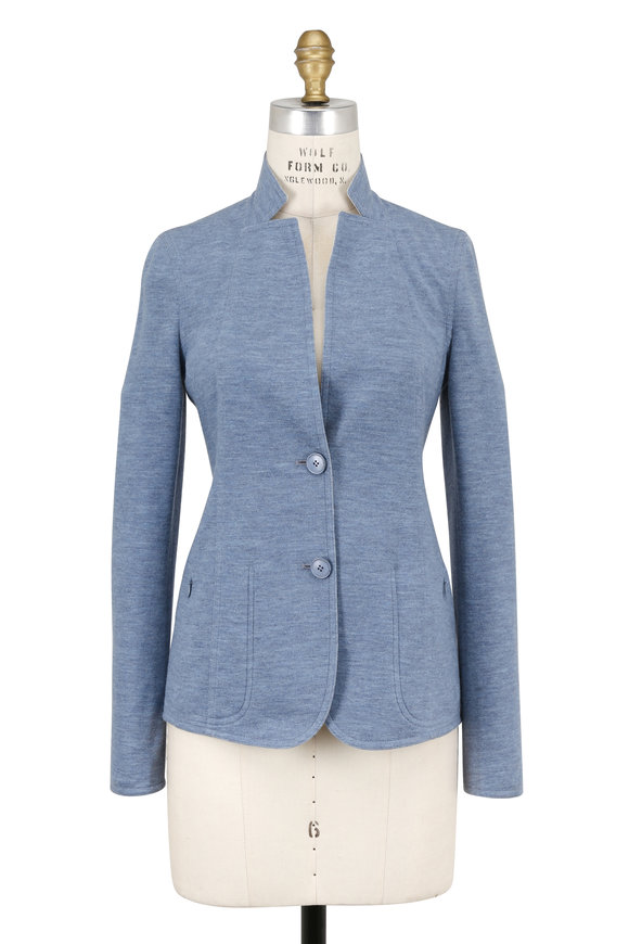 Akris Lancy Blue & Cream Cashmere Knit Reversible Jacket