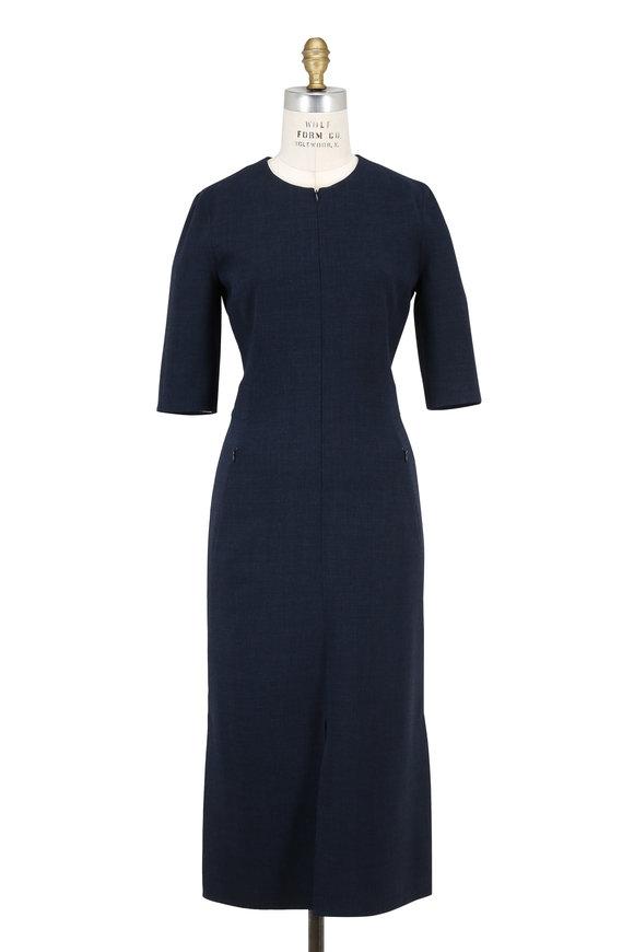 Akris Shadow Wool Front Zip Elbow Sleeve Dress