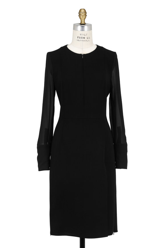 Akris Navy Blue Wool Long Sleeve Dress