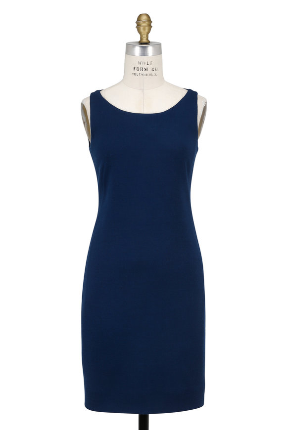 Akris Denim Blue Wool Sleeveless Sheath Dress