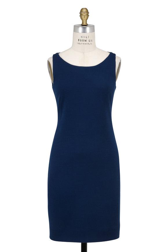 Akris Denim Blue Wool Sleeveless Sheath Dress
