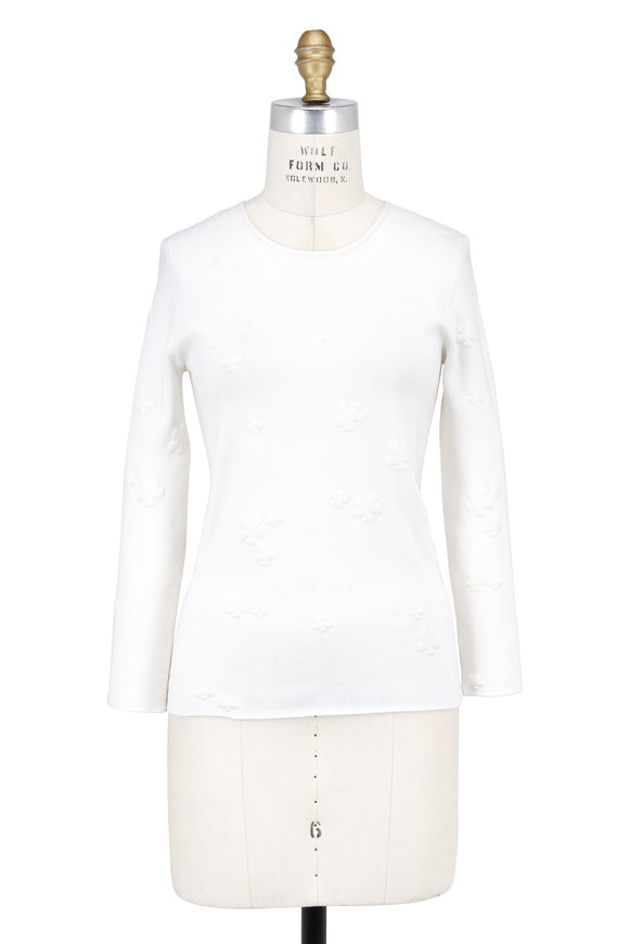 Akris Buttercup Stretch Silk Jacquard Sweater