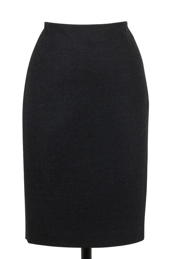 Akris Granite Flannel Wool Pencil Skirt