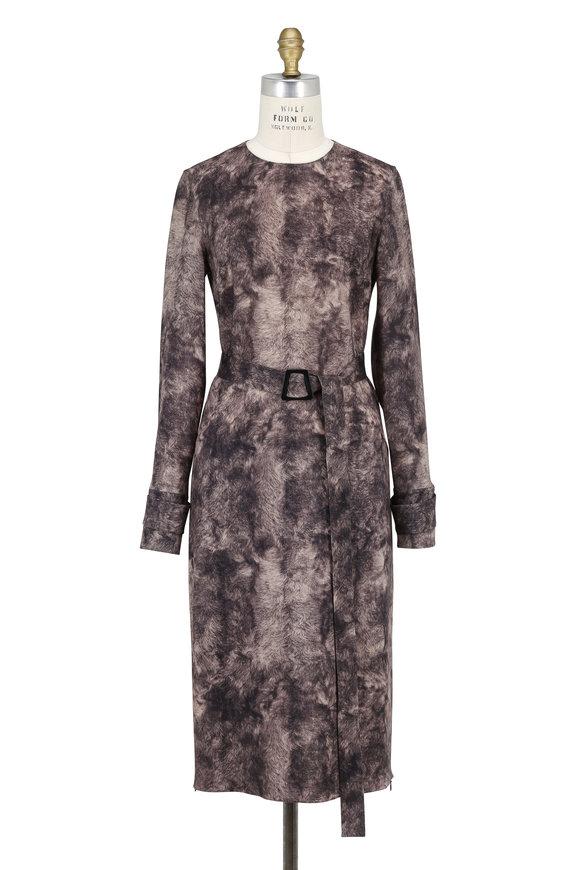 Akris Sepia Wool Printed Long Sleeve Belted Dress
