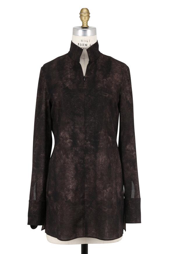 Akris Brown Wool Printed Zip-Front Tunic Blouse