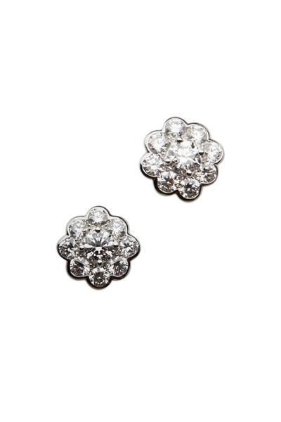 Graff - Gold & Silver Diamond Cluster Rubover Earrings