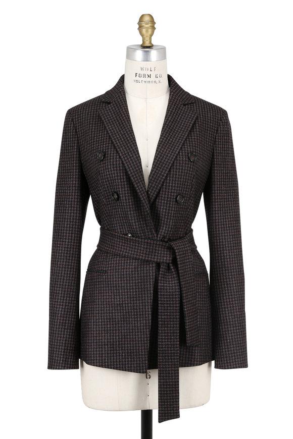 Akris Black & Brown Plaid Stretch Wool Belted Jacket