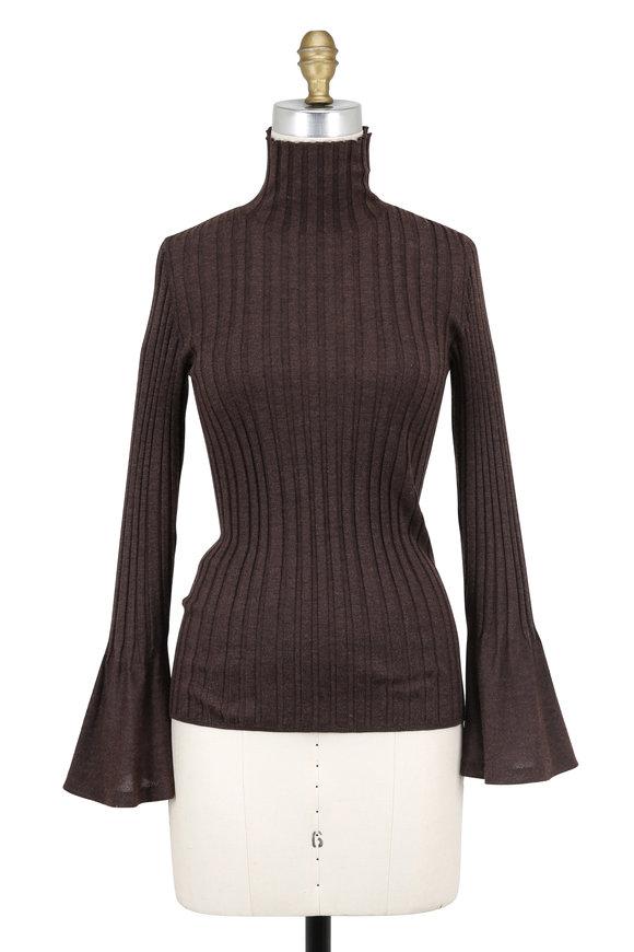 Akris Sepia Ribbed Cashmere & Silk Bell Cuff Sweater