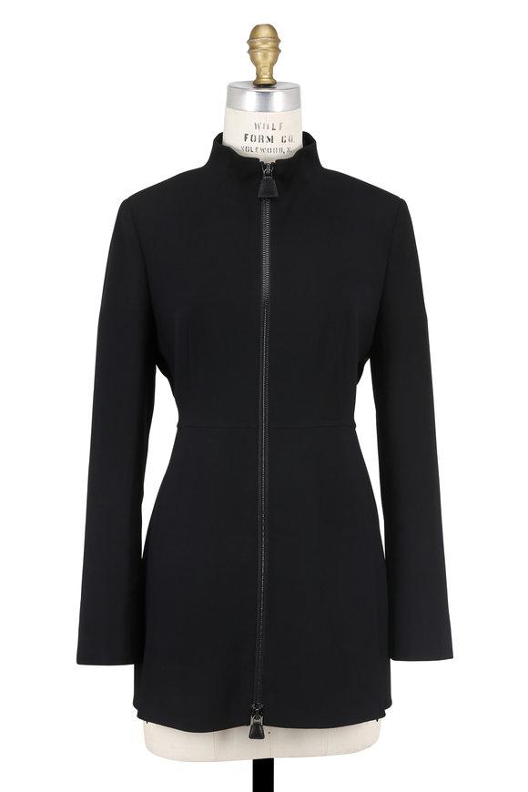 Akris Leda Black Double-Faced Wool Zip Jacket