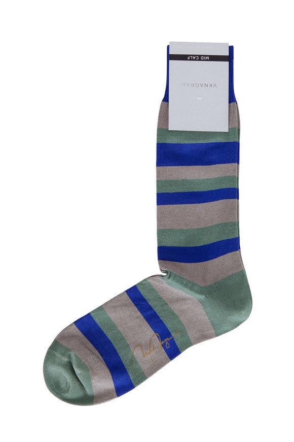 VKNagrani Blue & Green Striped Socks
