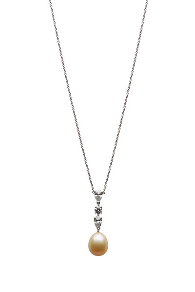 Graff - Platinum Peach Pearl White Diamond Drop Pendant
