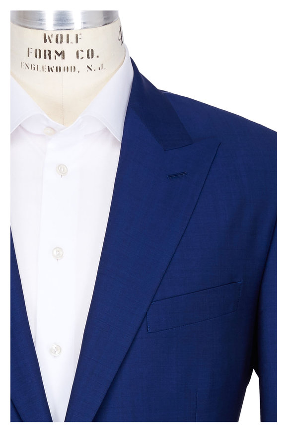 Rosso Solid Blue Wool Mohair Suit