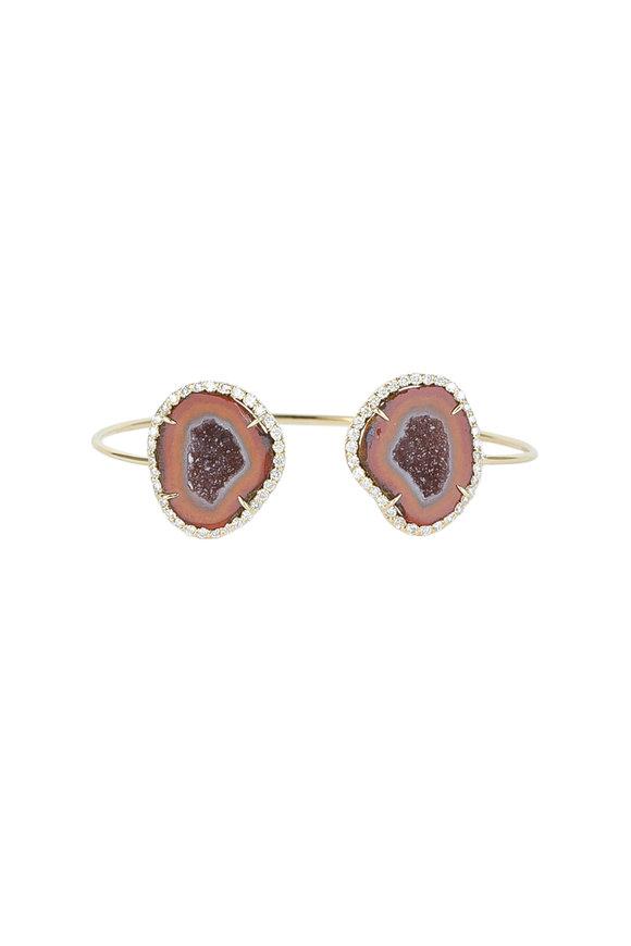 Kimberly McDonald 18K Gold Orange Geode & Diamond Cuff Bracelet
