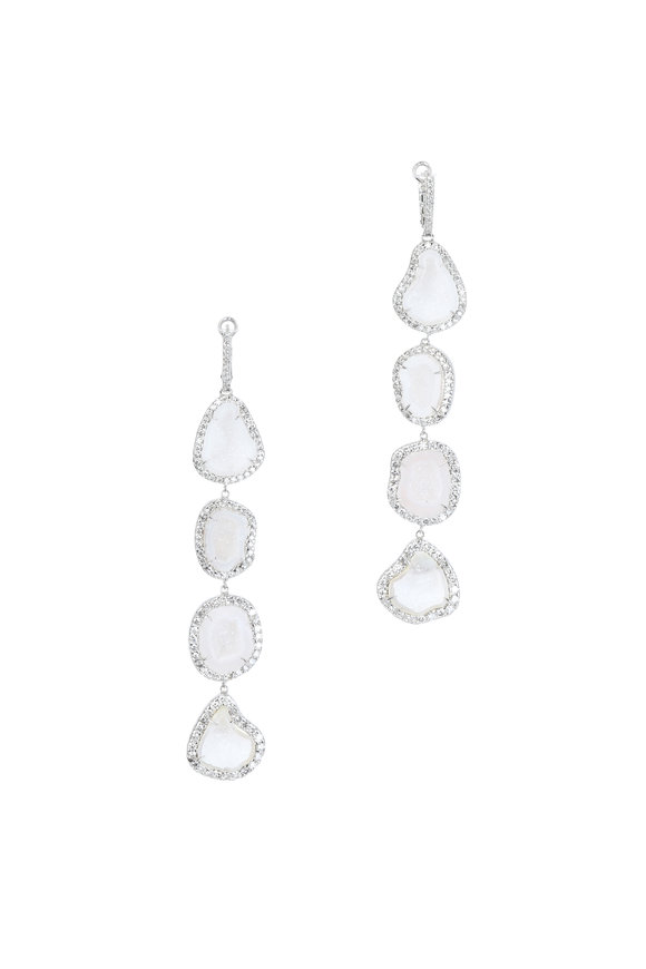 Kimberly McDonald 18K White Gold White Geode & Diamond Earrings