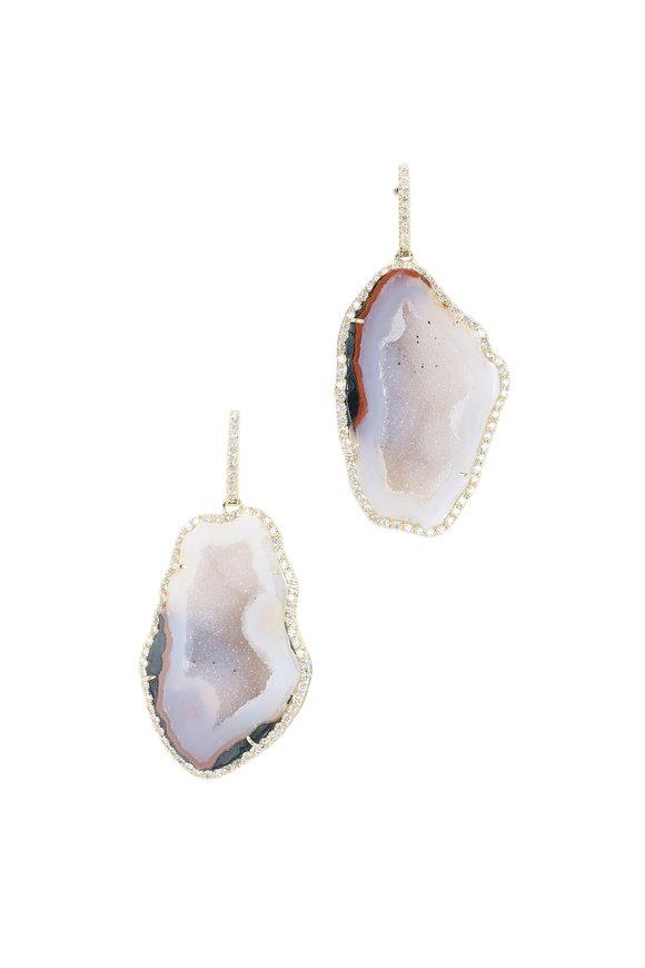 Kimberly McDonald 18K Yellow Gold Geode & Diamond Earrings