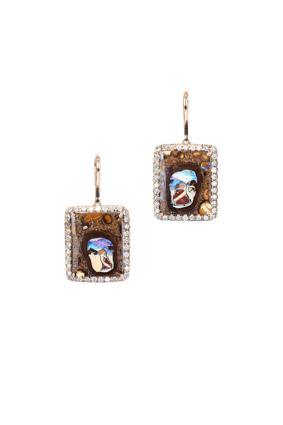 Kimberly McDonald 18K Rose Gold Yowah Opal & Diamond Earrings
