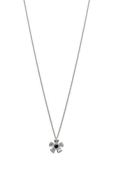 Graff - Platinum Sapphire White Diamond Flower Pendant